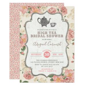 High Tea Bridal Shower Vintage Pink Floral Wedding Invitation starting at 2.61