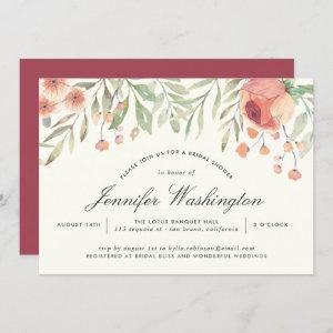 Hippie Pink & Watercolor Peach Rose Bridal Shower Invitation starting at 2.40