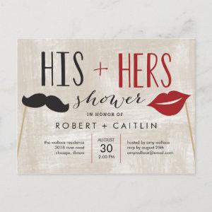 His and Hers Couple Shower Invitation Postcard starting at 1.20