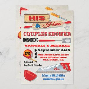 His and Hers Couples Tools Kitchen Shower Invites starting at 2.98