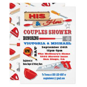 His and Hers Couples Tools Kitchen Shower Invites starting at 2.60