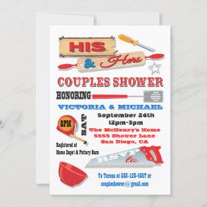 His and Hers Couples Tools Kitchen Shower Invites starting at 2.45