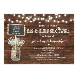 His and hers wedding shower rustic barn invitation starting at 2.55