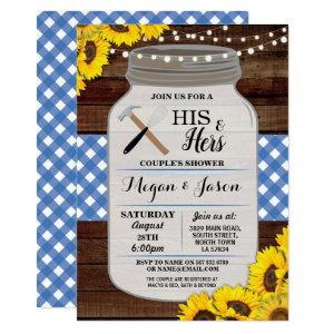 His & Hers Couple's Shower Rustic Wood Blue Invite starting at 2.51