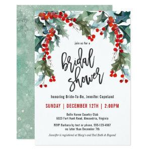 Holiday Greenery Watercolor Bridal Shower Invitation starting at 2.51