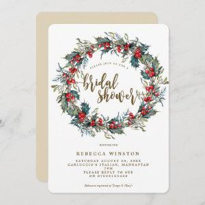 holly wreath winter bridal shower invite starting at 2.71
