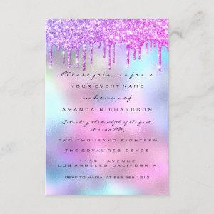 Holographic Pink Blue Bridal Shower Sweet 16th Invitation starting at 1.95