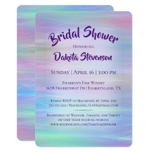 Holographic Whimsy | Pastel Rainbow Bridal Shower Invitation starting at 2.60