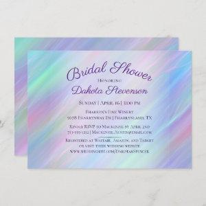 Holographic Whimsy | Pastel Rainbow Bridal Shower Invitation starting at 2.10