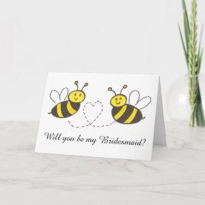 Honey Bees with Heart Will you be my Bridesmaid? Invitation starting at 3.65