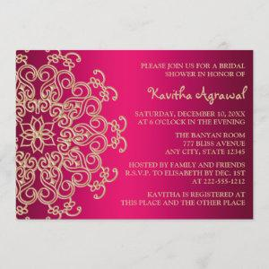 Hot Pink and Gold Indian Inspired Bridal Shower Invitation starting at 2.66