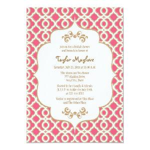 Hot Pink and Gold Moroccan Bridal Shower Invites starting at 2.66