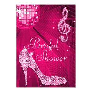 Hot Pink Disco Ball & Sparkle Heels Bridal Shower Invitation starting at 2.77