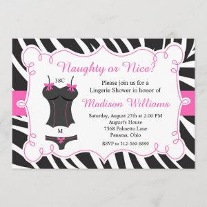 Hot Pink Naughty or Nice Lingerie Bridal Shower Invitation starting at 2.66