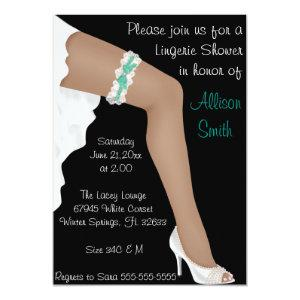 Hot Teal & White Lace Lingerie Bridal Shower Invitation starting at 2.66