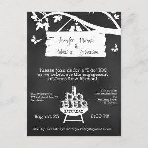 I Do | BBQ | Engagement Chalkboard Invitation Postcard starting at 1.70