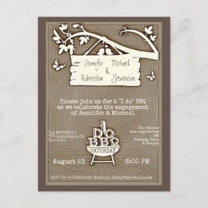 I Do | BBQ | Engagement Old Fashioned Invitation Postcard starting at 1.70