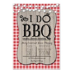 I Do BBQ Red Gingham Couples Shower in Wood Invitation starting at 2.51