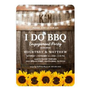 I DO BBQ Rustic Engagement Party Sunflower Invitation starting at 2.71