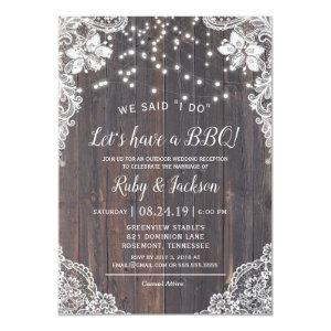 I DO BBQ Rustic Lace & String Lights Reception Invitation starting at 2.77