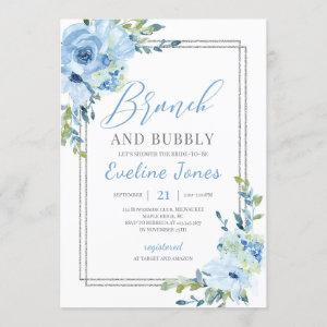 Ice blue floral silver geometric brunch and bubbly invitation starting at 2.40