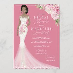 Illustrated Bride in Lace Gown Bridal Shower Invitation starting at 2.40