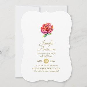 Indulgent Red Rose Watercolor Gold Bridal Shower starting at 2.71