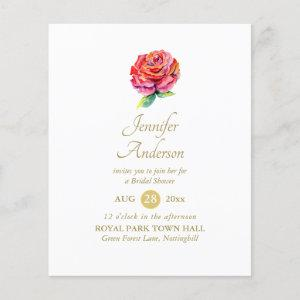 Indulgent Red Rose Watercolor Gold Bridal Shower starting at 0.61