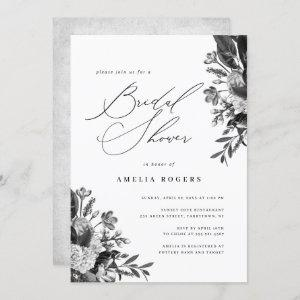 Industrial Chic Floral Calligraphy Bridal Shower Invitation starting at 2.40