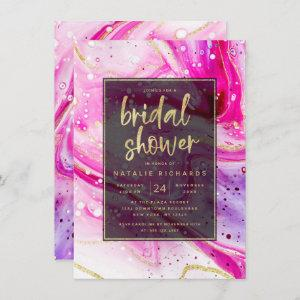 Inky Splash Pink Marble with Gold Bridal Shower Invitation starting at 2.20