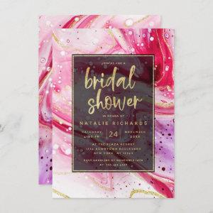 Inky Splash Red Marble with Gold Bridal Shower Invitation starting at 2.20