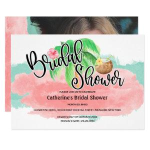 Island palm pink mint coconut flower modern bridal invitation starting at 2.40