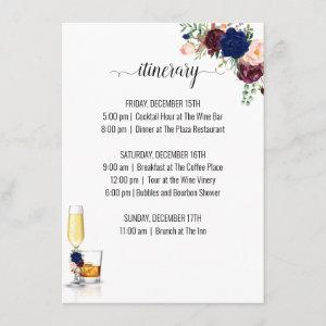 Itinerary Navy flowers Bubble and Bourbon Enclosure Card starting at 2.21