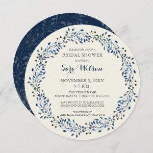 Ivory and Navy Floral Bridal Shower Invitations starting at 2.65