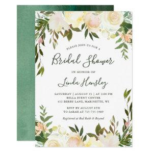 Ivory Chic Floral Garden Greenery Bridal Shower Invitation starting at 2.05
