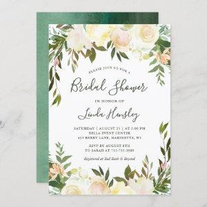 Ivory Chic Floral Garden Greenery Bridal Shower Invitation starting at 2.30