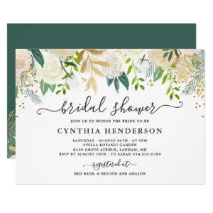 Ivory Greenery Gold Bloom Floral Bridal Shower Invitation starting at 2.10