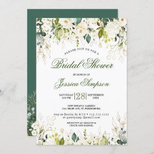 Ivory White Roses Floral  Watercolor Bridal Shower Invitation starting at 2.35