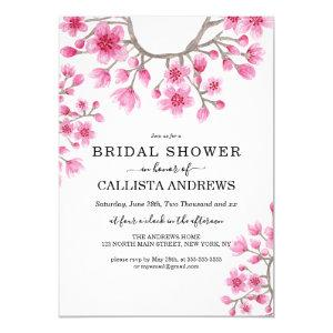 Japanese Cherry Blossom Floral Bridal Shower Invitation starting at 2.50