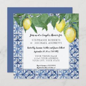 Japanese Shibori Blue n White Lemon Couples Shower Invitation starting at 2.51