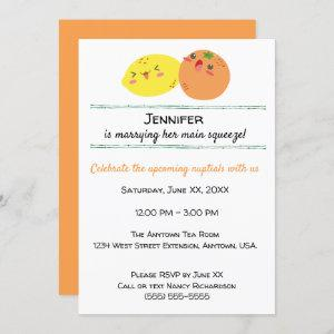 Kawaii Lemon and Orange Fruit Bridal Shower Invitation starting at 2.55