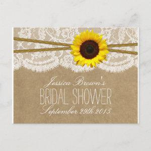 Kraft, Lace & Sunflower Bridal Shower Recipe Cards starting at 1.70