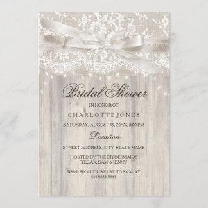 Lace Bow Sparkle Lights Rustic Bridal Shower starting at 2.55