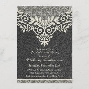 Lace Leather Rustic Vintage Ivory Bachelorette Invitation starting at 2.31