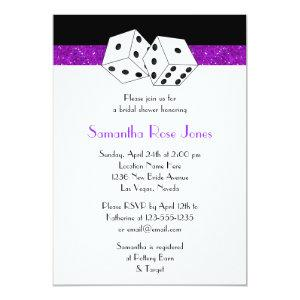 Las Vegas Wedding Bridal Shower Purple Dice Theme Invitation starting at 2.66