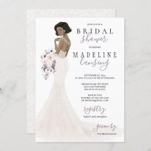 Lavender Bride in Lace Gown Bridal Shower Invitation starting at 2.40