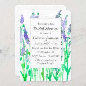 Lavender Flowers Watercolor Bridal Shower Invitation starting at 2.70