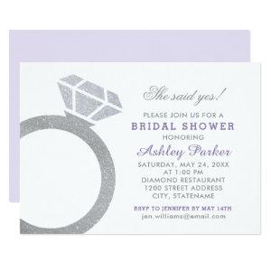 Lavender Purple Bridal Shower with Diamond Ring Invitation starting at 2.51