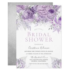 Lavender Purple Silver floral Bridal Shower Invitation starting at 2.40