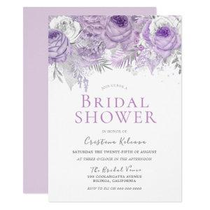 Lavender Purple Sparkle Floral Bridal Shower Invitation starting at 2.40